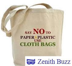cut short plastic waste with the help of cloth bags