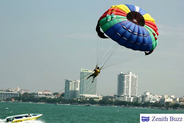 paragliding over the Pattaya beach